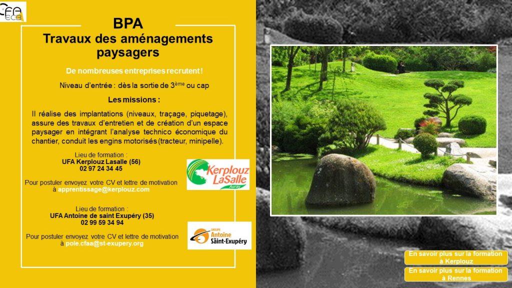 BPA travaux d'aménagement paysagers